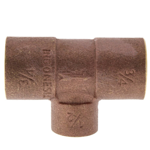 "3/4"" x 1/2"" Copper Scoop Tee Product Image"