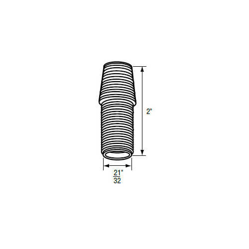 "21/32"" x 2"" Universal Fit White Plastic Escutcheon Nipple (18 TPI) Product Image"