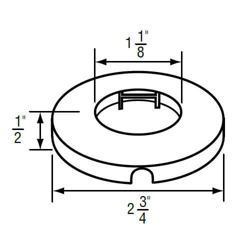 """1-1/8"""" IPS Chrome-Plated Zinc Escutcheon (2-3/4"""" OD) for Gerber Faucets Product Image"""