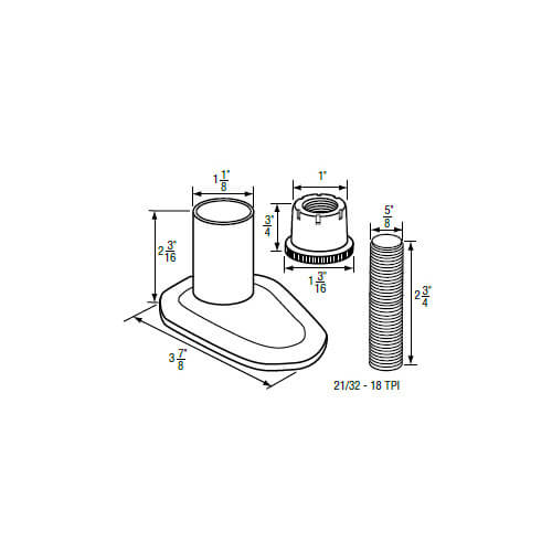 """1-1/8"""" IPS Escutcheon (3-7/8"""" OD) with Nut and Nipple for Price Pfister Faucets Product Image"""