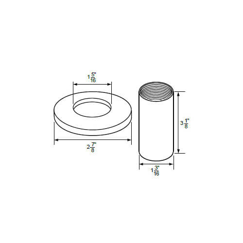 """1-5/16"""" IPS PVD Satin Nickel-plated Zinc Escutcheon with Sleeve (2-7/8"""" OD) for Price Pfister Faucets Product Image"""