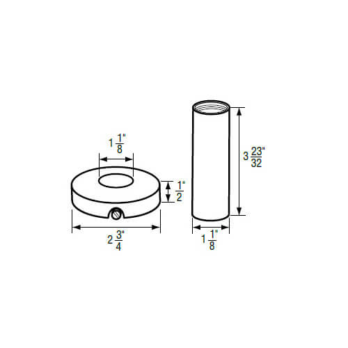 """1-1/8"""" IPS Chrome-plated Zinc Escutcheon with Sleeve (2-3/4"""" OD) for Gerber Product Image"""