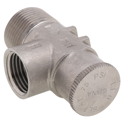 """3/4"""" Stainless Steel Relief Valve, Non-Adjustable, 75 PSI  Product Image"""