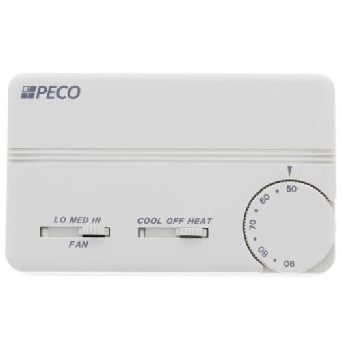 3 Speed Fan Coil Heat/Cool/Off Programmable Thermostat w/ Wire Leads & 2 Covers (White) Product Image