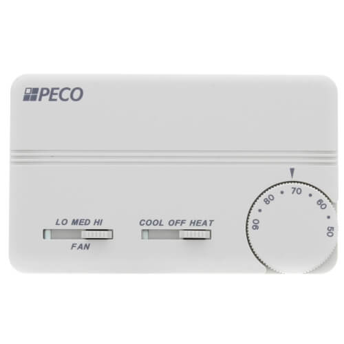 3 Speed Fan Coil Cool/Heat/Off Programmable Thermostat w/ Terminal Block & 2 Covers (White) Product Image