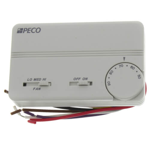 3 Speed Fan Coil On-Off Programmable Thermostat w/ Wire Leads & 2 Covers (White) Product Image