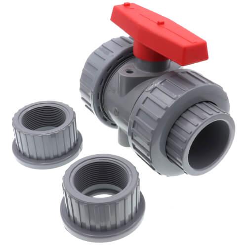 "1-1/2"" CPVC TBB Series True Union Ball Valve w/ EPDM O-Ring - Gray (Socket x Threaded) Product Image"