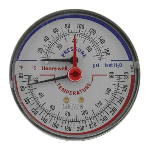 "1/4"" NPT, 3-1/8"" Face, Temperature & Pressure Gauge (Tridicator) Product Image"