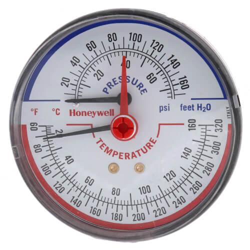 "1/4"" NPT, 3-1/8"" Face, Long Probe Temperature & Pressure Gauge (Tridicator) Product Image"