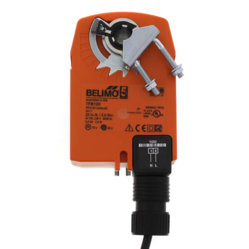 spring return failsafe on/off damper control actuator direct coupled   100 to 240 vac no aux switch