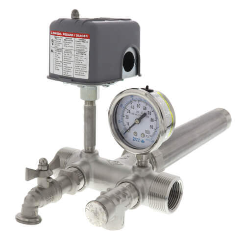 "1"" X 4-1/2"" MPT Stainless Steel Union Tank Tee Package, 40-60 PSI, Check Valve, Ball Valve, 90 El Product Image"