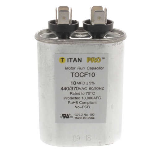 10 MFD Oval Motor Run Capacitor (440/370V) Product Image