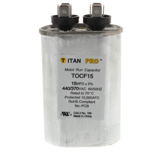 15 MFD Oval Motor Run Capacitor (440/370V) Product Image