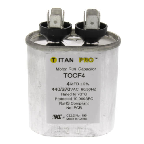 4 MFD Oval Motor Run Capacitor (440/370V) Product Image