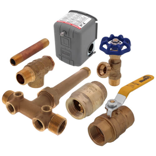 """1"""" x 10"""" MPT Union Brass Tank Tee Package, 30-50 PSI (Lead Free) Product Image"""