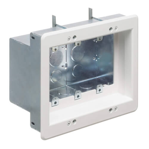 3-Gang Steel Recessed TV Box (White) Product Image