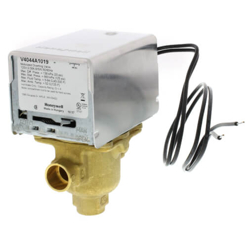"1/2"" Sweat Connection 3 Way Zone Valve, Port A Normally Closed (120v) Product Image"