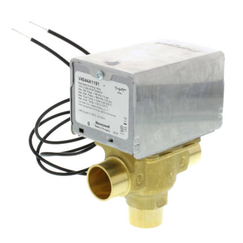 """3/4"""" Sweat Connection 3 Way Zone Valve, port A normally closed (120v) Product Image"""