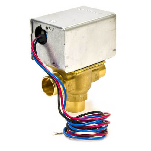"3/4"" Sweat Connection 3 Way Zone Valve, port A normally closed, bottom inlet (120) Product Image"