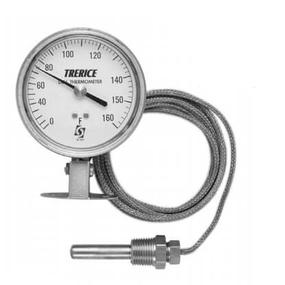 """Remote Mounted Dial Thermometer w/ 5 Ft. Capillary, 3-1/2"""" Dial (0° to 160°F) Product Image"""