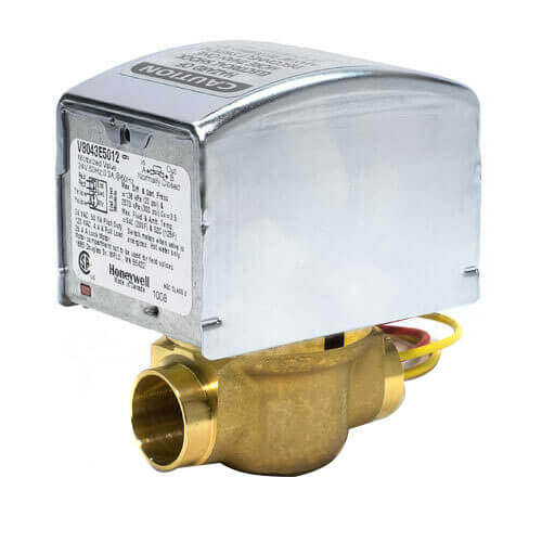 "1/2"" Sweat Connection Zone Valve, normally closed, w/ manual opener (24v) Product Image"