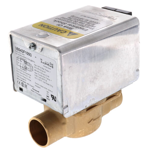 "3/4"" Sweat Connection Zone Valve, normally closed, w/ screw terminal block connection, 8 Cv (24v) Product Image"