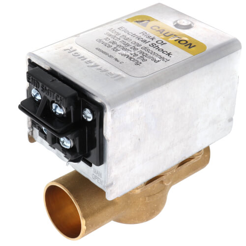 "3/4"" Sweat Connection Zone Valve, Normally Closed, w/ Screw Terminal Block Connection, 3.5 Cv (24v) Product Image"