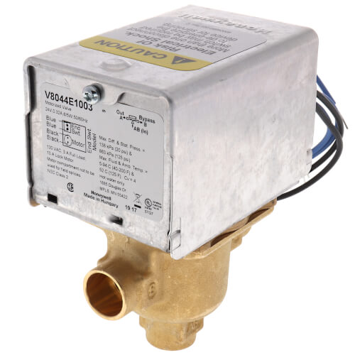 "1/2"" Sweat Connection 3 Way Zone Valve, port A normally closed, w/ end switch (24v) Product Image"