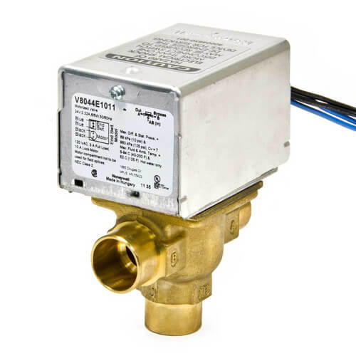 """3/4"""" Sweat Connection 3 Way Zone Valve, port A normally closed, w/ end switch (24v) Product Image"""
