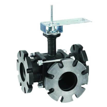 """4"""" 3-Way Flange Actuated Control Ball Valve (160 Cv) Product Image"""