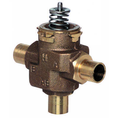 """1/2"""" Sweat, 3-Way VC Hydronic Valve Assembly, Quick Open Flow (4.2 Cv) Product Image"""