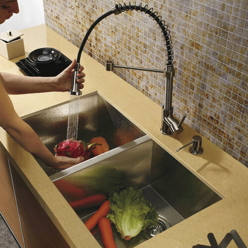 Elegant Undermount Stainless Steel Kitchen Sink With Vigo VG02001 Faucet And Soap  Dispenser Product Image