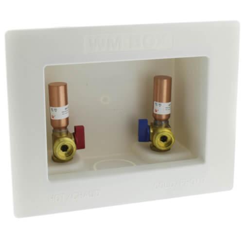 "1/2"" Sweat Washing Machine Outlet Box w/ Water Hammer Arrestors Product Image"