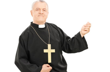 priest playing air guitar