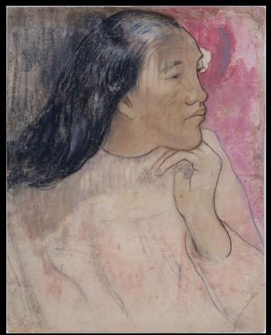 Paul GAUGUIN «Tahitienne avec fleur dans les cheveux»
