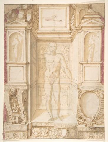 GIUSEPPE ARCIMBOLDO « étude d'une figure dans une niche »