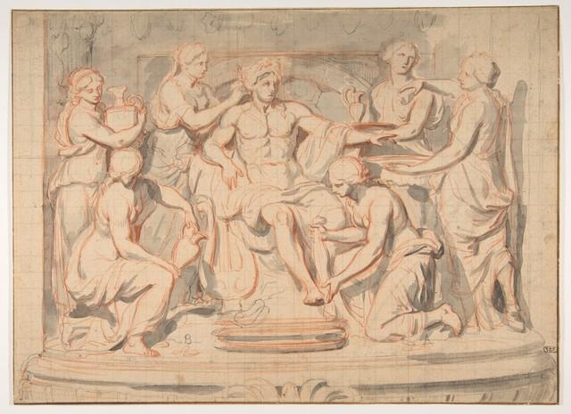CHARLES LEBRUN «Apollon servi par les nymphes»