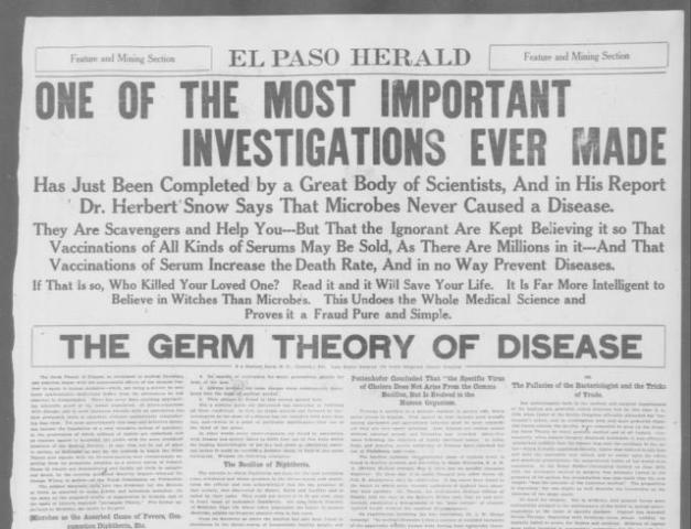 The Germ Theory of Disease is published