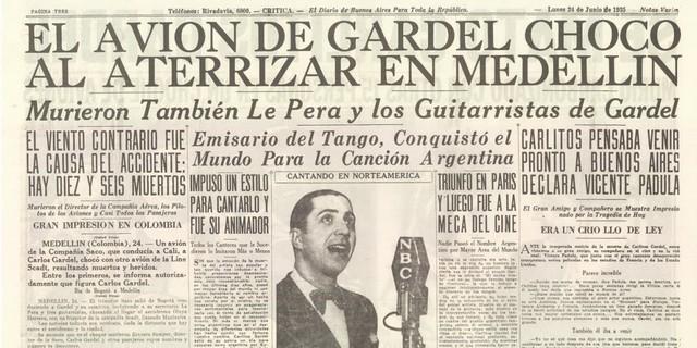 muerte del cantante argentino Carlos Gardel y 13 personas mas