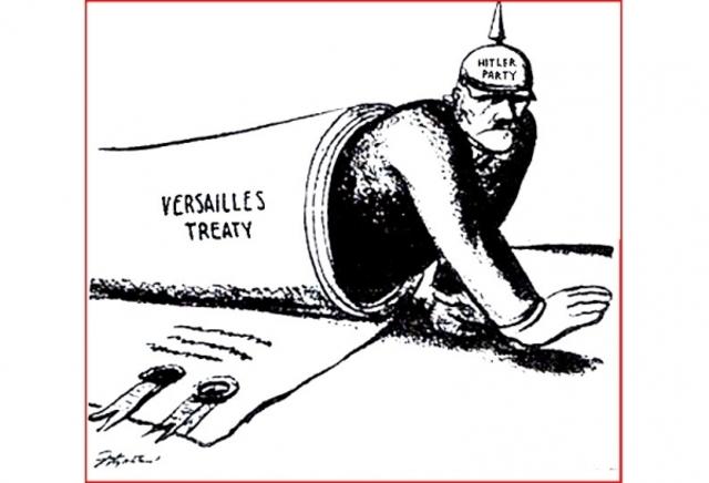 Hitler pledges to undo the Treaty of Versailles.