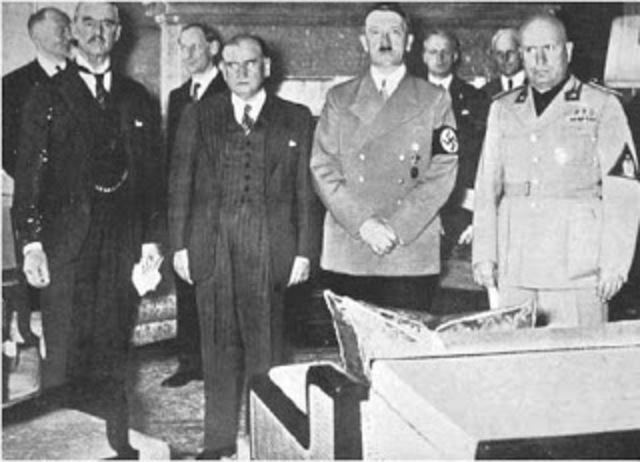 Germany, Italy, Great Britain, and France sign the Munich Agreement (Appeasement)