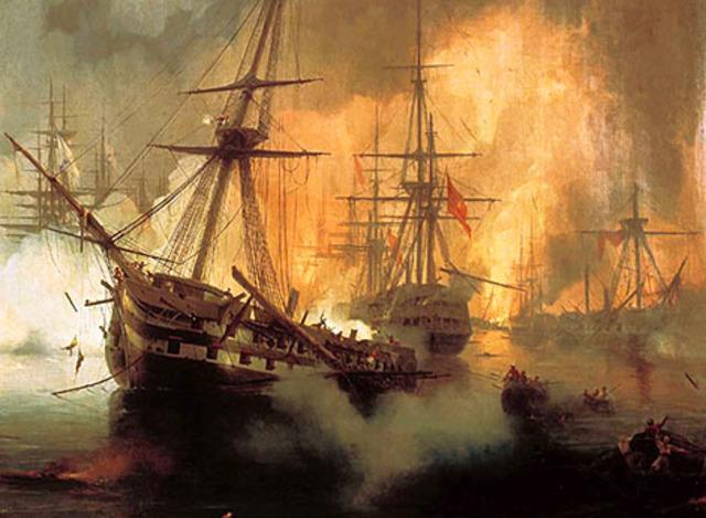Победа над турецко-египетским флотом в Наваринской бухте.