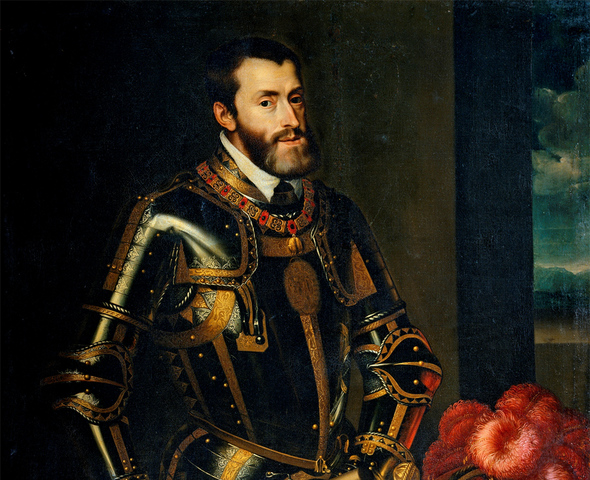 Испанский король Карл I становится императором Священной римской империи Карлом V.