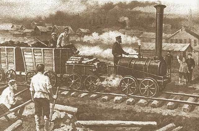 Постройка Е.А. и М.Е. Черепановыми на Нижнетагильском заводе первой в мире железной дороги.