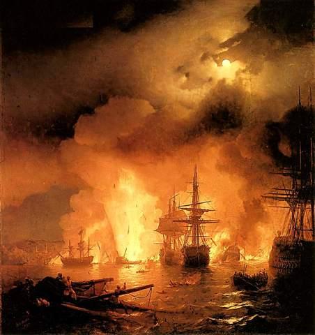 Разгром турецкого флота в Чесменской бухте