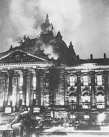 The German Reichstag burns.