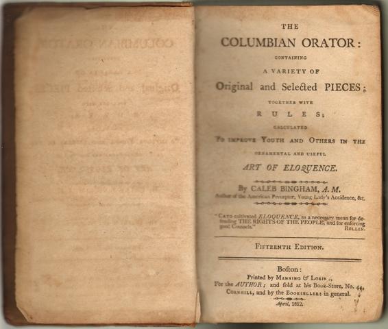 "Douglass Receives ""The Columbian Orator"""