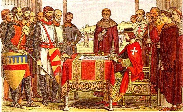 John and his barons sign Magna Carta
