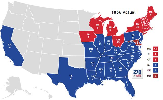 Republicans lose 1854 presidential election to the Democrats.