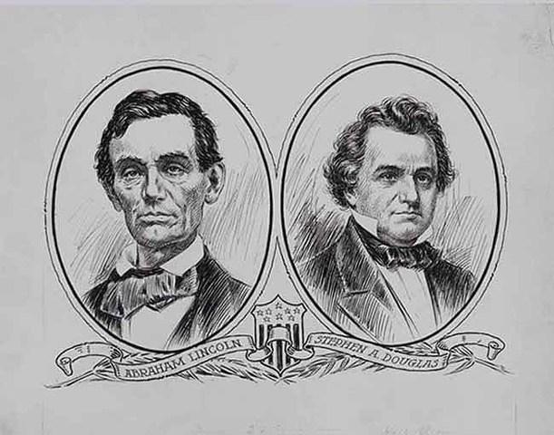 Abraham Lincoln runs for U.S. Senate in Illinois against Stephen Douglas